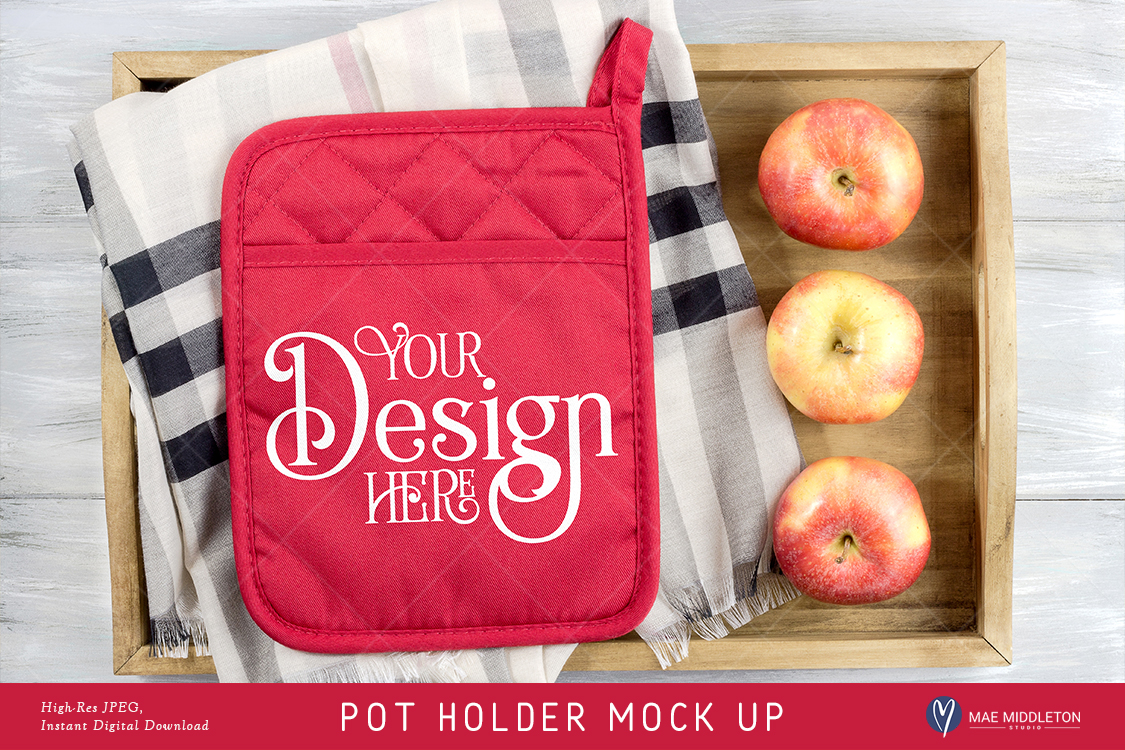 Download Free Pot Holder Mock Up Fall Christmas Styled Photo Jpeg File for Cricut Explore, Silhouette and other cutting machines.