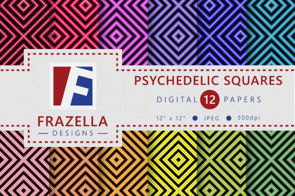 Print on Demand: Psychedelic Squares Retro Digital Papers Graphic Patterns By Frazella Designs