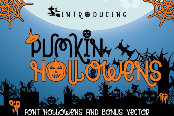 Print on Demand: Pumpkin Hollowens Display Font By jehansyah251