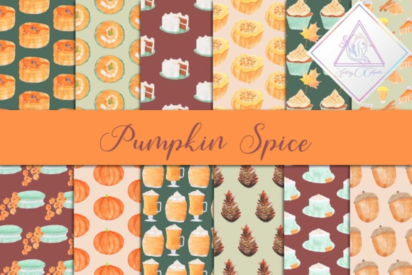 Print on Demand: Pumpkin Spice Digital Paper Graphic Backgrounds By fantasycliparts