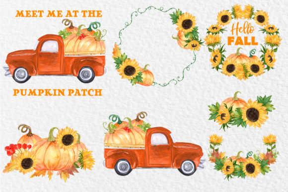 Download Free Pumpkin Truck Clipart Graphic By Vivastarkids Creative Fabrica for Cricut Explore, Silhouette and other cutting machines.