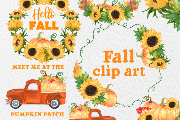 Pumpkin Truck Clipart Graphic Illustrations By vivastarkids