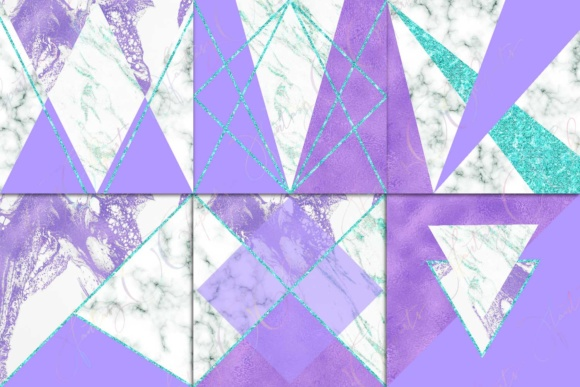 Purple, Marble & Turquoise Glitter Digital Paper Graphic By fantasycliparts Image 2