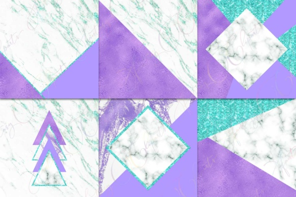 Purple, Marble & Turquoise Glitter Digital Paper Graphic By fantasycliparts Image 3
