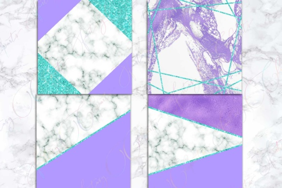 Purple, Marble & Turquoise Glitter Digital Paper Graphic By fantasycliparts Image 4