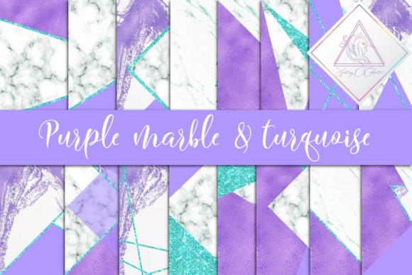 Print on Demand: Purple, Marble & Turquoise Glitter Digital Paper Graphic Textures By fantasycliparts - Image 1