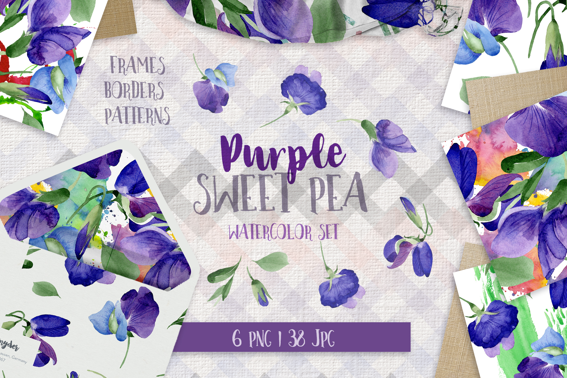 Download Free Purple Sweet Pea Watercolor Flower Set Graphic By Mystocks Creative Fabrica for Cricut Explore, Silhouette and other cutting machines.
