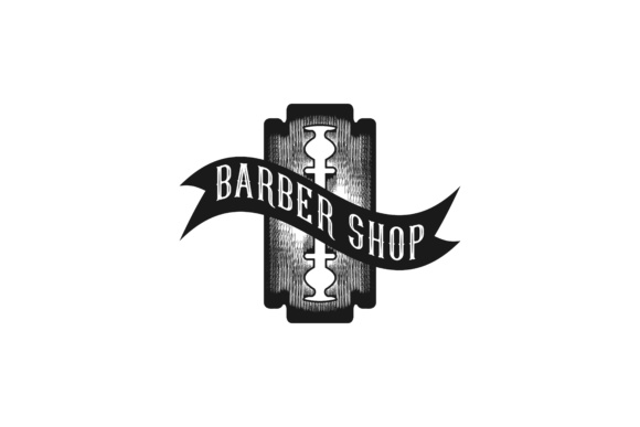 Download Free Razor Blade Barber Logo Graphic By Yahyaanasatokillah Creative for Cricut Explore, Silhouette and other cutting machines.