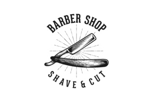 Download Free Razor Blade Vintage Barber Shop Hipster Logo Grafico Por for Cricut Explore, Silhouette and other cutting machines.