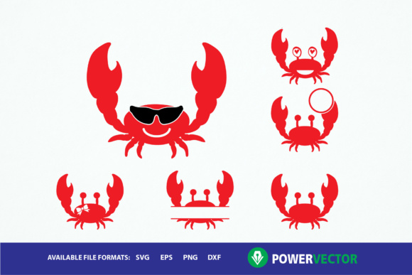 Red Crab Clipart Monogram Frames Svg Graphic By Powervector