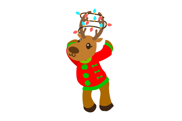 Download Free Reindeer With Ugly Christmas Sweater Svg Cut File By Creative for Cricut Explore, Silhouette and other cutting machines.