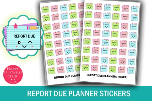 Download Free Report Due Planner Stickers Cute Kawaii Planner Stickers for Cricut Explore, Silhouette and other cutting machines.
