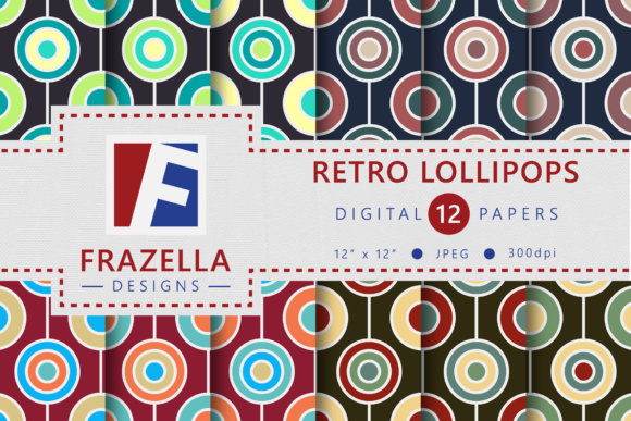 Print on Demand: Retro Lollipops Vintage Digital Paper Collection Graphic Patterns By Frazella Designs