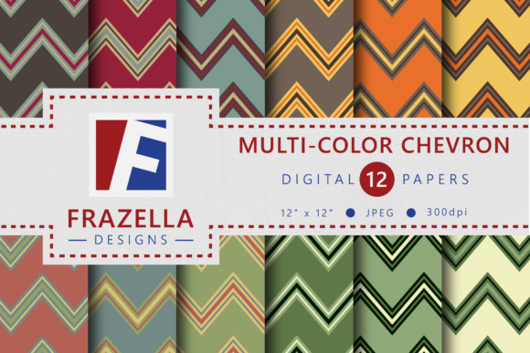Print on Demand: Retro Multi-Color Chevron Pattern Digital Papers Graphic Patterns By Frazella Designs