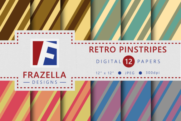 Print on Demand: Retro Pinstripes Vintage Digital Paper Collection Graphic Patterns By Frazella Designs