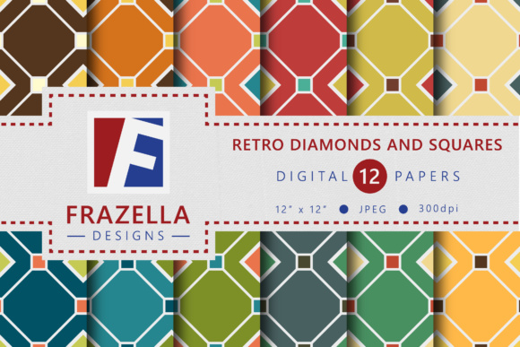 Print on Demand: Retro Squares and Diamonds Digital Paper Collection Graphic Patterns By Frazella Designs