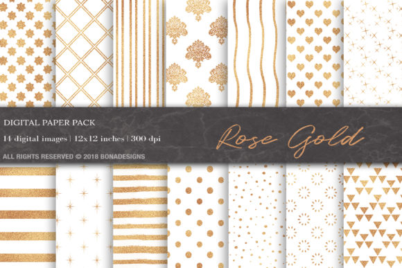 Rose Gold Digital Paper Graphic Patterns By BonaDesigns