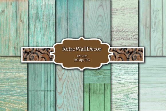 Print on Demand: Rustic Wood Digital Paper Set Graphic Backgrounds By retrowalldecor - Image 1