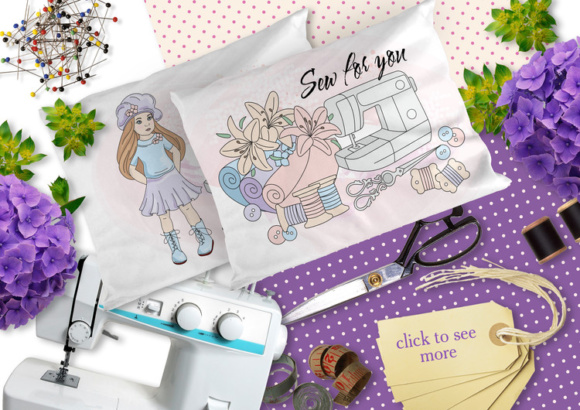 SEW for YOU Color Vector Illustration Set Graphic By FARAWAYKINGDOM Image 3
