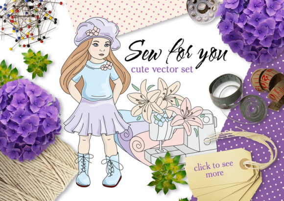Print on Demand: Sew for You Color Vector Illustration Set Graphic Illustrations By FARAWAYKINGDOM