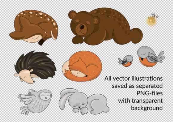 Download Free Sleeping Animals Autumn Vector Illustration Set Graphic By for Cricut Explore, Silhouette and other cutting machines.