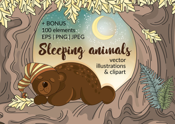 Print on Demand: Sleeping Animals Autumn Vector Illustration Set Gráfico Ilustraciones Por FARAWAYKINGDOM
