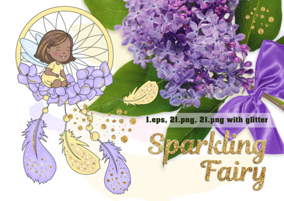 SPARKLING FAIRY Glitter Color Vector Illustration Set Graphic Illustrations By FARAWAYKINGDOM