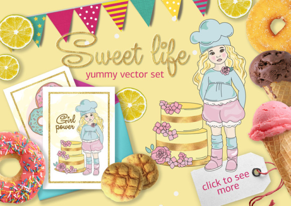 Print on Demand: Sweet Life Golden Color Vector Illustration Set Graphic Illustrations By FARAWAYKINGDOM