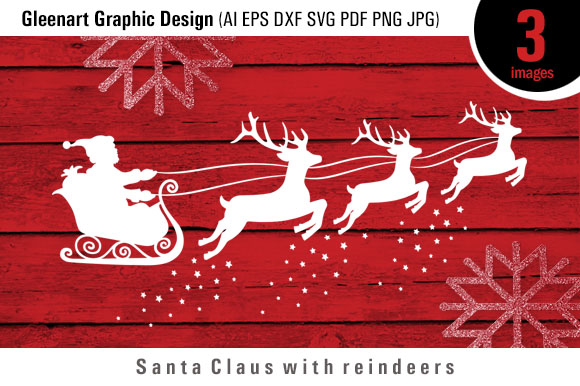 Download Free Santa Claus And Reindeer Graphic By Gleenart Graphic Design for Cricut Explore, Silhouette and other cutting machines.