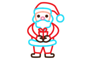 Santa Holding Present Outline Design Sewing Cards Craft Cut File By Creative Fabrica Crafts