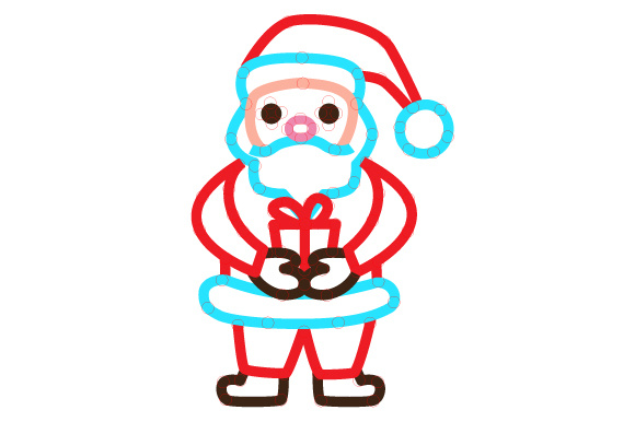Download Free Santa Holding Present Outline Design Svg Cut File By Creative for Cricut Explore, Silhouette and other cutting machines.