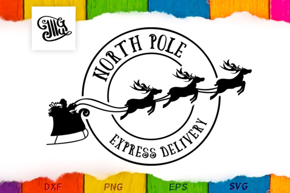Download Free Santa S Delivery Stamp Graphic By Illustrator Guru Creative for Cricut Explore, Silhouette and other cutting machines.