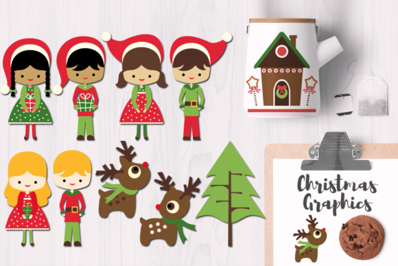 Print on Demand: Santa's Little Helpers and Reindeer Christmas Graphics Graphic Illustrations By Revidevi