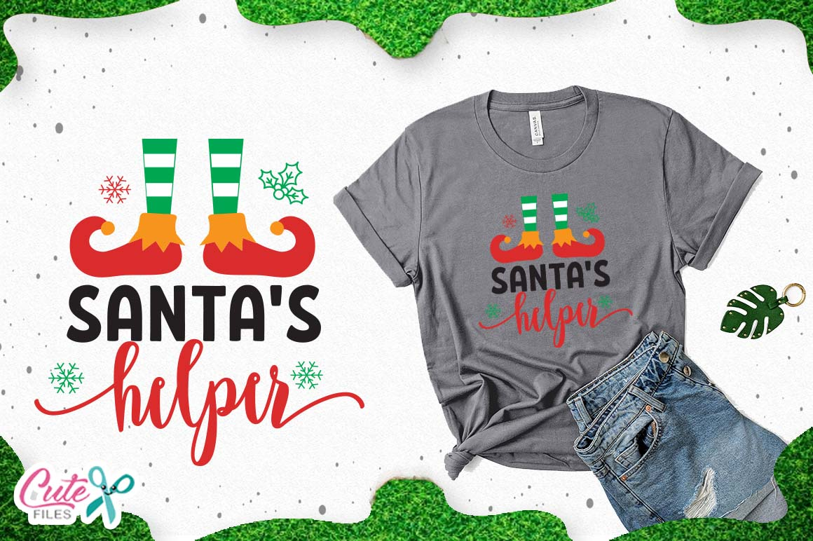 Download Free Santas Helper Christmas Cut Files For Craftters Graphic By Cute for Cricut Explore, Silhouette and other cutting machines.