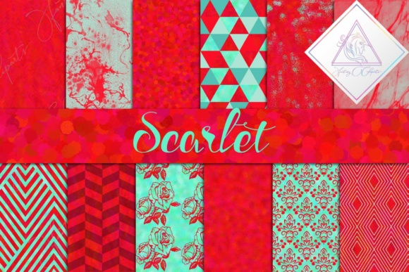 Print on Demand: Scarlet Red Digital Paper Graphic Textures By fantasycliparts