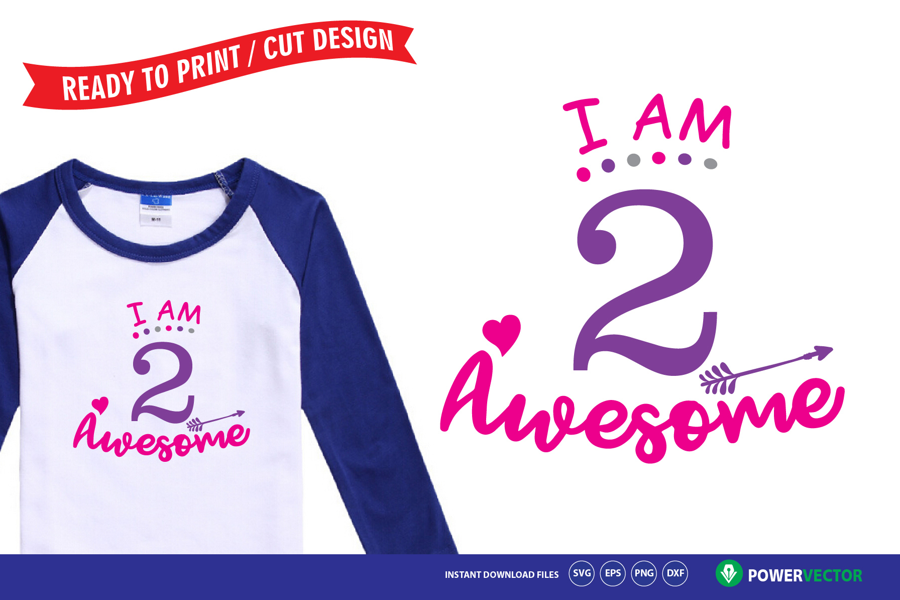 Download Free Second Birthday I Am 2 Awesome Shirt Design Graphic By for Cricut Explore, Silhouette and other cutting machines.