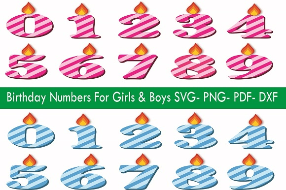 Download Free Set Of Birthday Font Numbers Svg For Girls Boys Graphic By for Cricut Explore, Silhouette and other cutting machines.