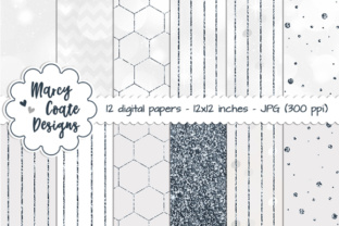 Silver Bokeh & Glitter Pattern Papers - Graphics Graphic By MarcyCoateDesigns
