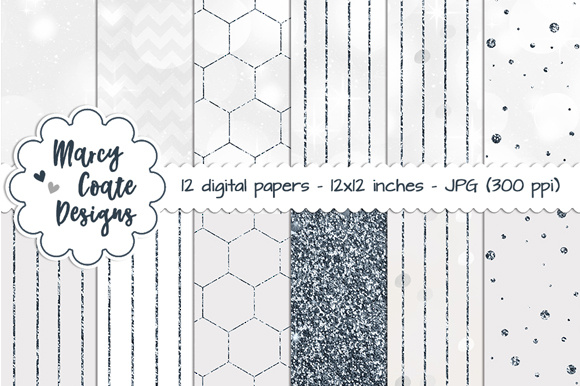 Silver Bokeh & Glitter Pattern Papers - Graphics Grafik Hintegründe von MarcyCoateDesigns