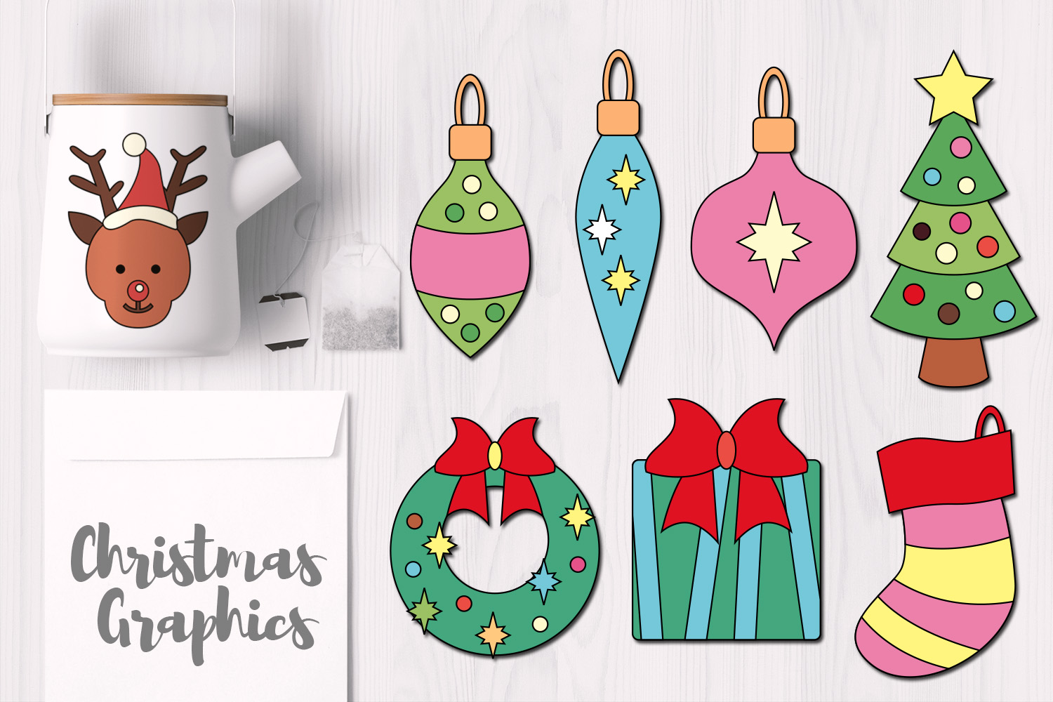 Download Free Simple Christmas Ornaments Pastel Graphic By Revidevi Creative for Cricut Explore, Silhouette and other cutting machines.