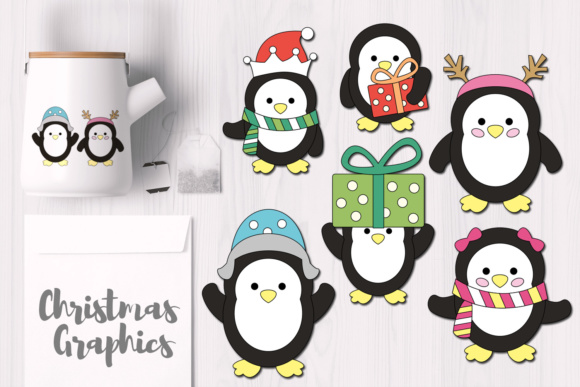 Print on Demand: Simple Christmas Penguins Graphics Graphic Illustrations By Revidevi