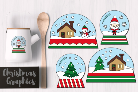 Print on Demand: Simple Christmas Snow Globes Graphic Illustrations By Revidevi