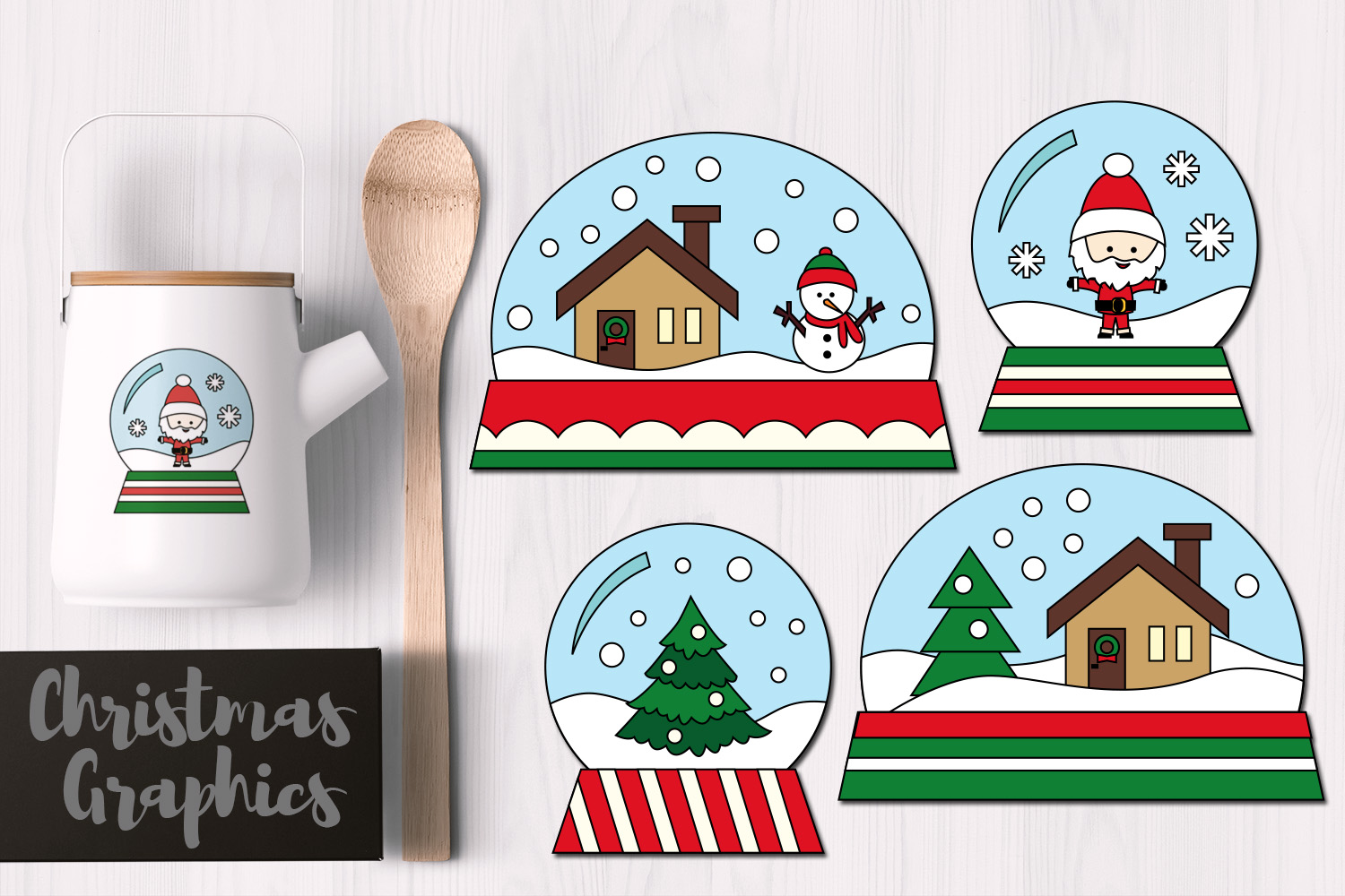 Download Free Simple Christmas Snow Globes Grafico Por Revidevi Creative Fabrica for Cricut Explore, Silhouette and other cutting machines.