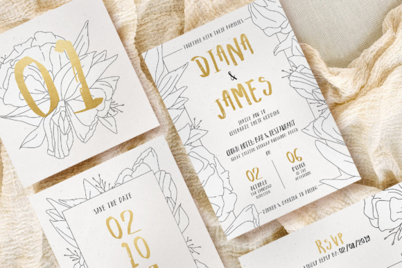 Download Free Simple Floral Outline Wedding Suite Graphic By Blue Robin Design for Cricut Explore, Silhouette and other cutting machines.