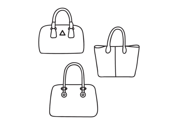 Print on Demand: Simple Design Outline Handbag Set Graphic Logos By sabavector