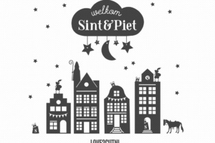 Download Free Sinterklaas Canal Houses Window Decal Design Graphic By for Cricut Explore, Silhouette and other cutting machines.