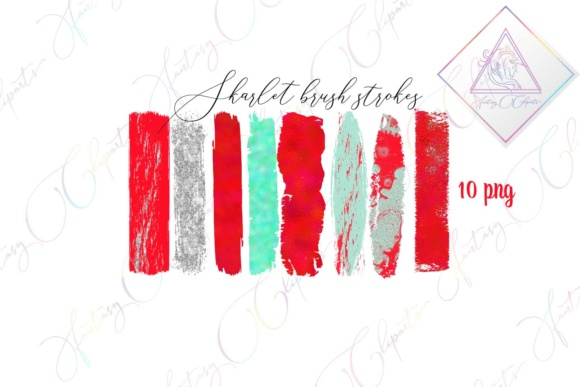 Print on Demand: Skarlet Brush Strokes Clipart Graphic Illustrations By fantasycliparts