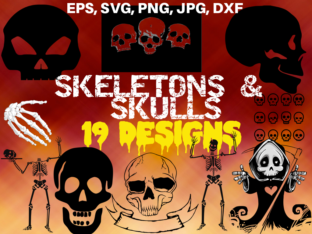 Download Free Skeletons And Skulls Bundle Graphic By Quiet Deluxe Digital for Cricut Explore, Silhouette and other cutting machines.