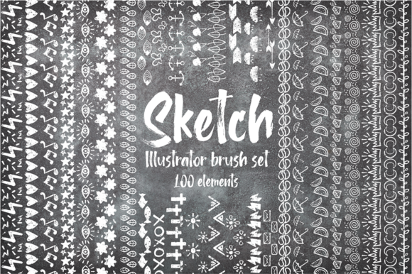 Print on Demand: Sketch Illustrator Brush Set Bundle +100 Elements Graphic Illustrations By arausidp