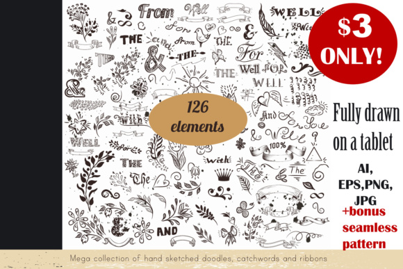 Sketch Vector Clip Art Set Graphic Illustrations By fleurartmariia